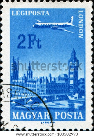 HUNGARY - CIRCA 1966: A stamp printed in the Hungary shows a plane flying over London, circa 1966
