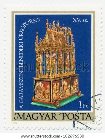 HUNGARY - CIRCA 1980: A stamp printed in the Hungary shows Easter Casket of Garamszentbenedek, 15th Century (Restoration), circa 1980