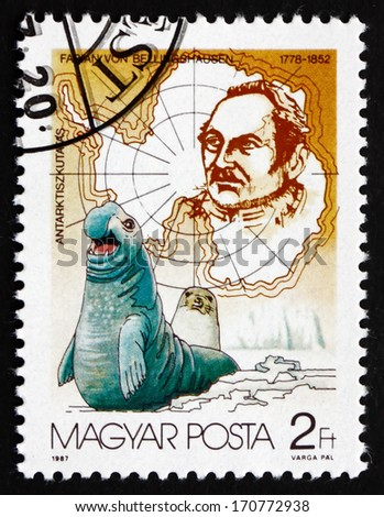 HUNGARY - CIRCA 1987: a stamp printed in the Hungary shows Fabian von Bellingshausen and Seals, Russian Cartographer and Explorer, Admiral, circa 1987