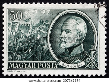 HUNGARY - CIRCA 1952: a stamp printed in the Hungary shows General Josef Bem, Polish General, an Ottoman Pasha and a National Hero of Poland and Hungary, circa 1952 - stock photo