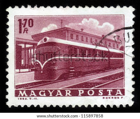 HUNGARY - CIRCA 1963: A stamp printed in the Hungary shows locomotive , series transportation, circa 1963