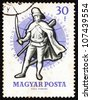 HUNGARY - CIRCA 1959: a stamp printed in the Hungary shows Soldier, 18th Century, 24th World Fencing Championships, Budapest, circa 1959 - stock photo