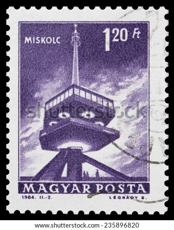 HUNGARY - CIRCA 1984: A Stamp shows the tower of Miskolc, circa 1984