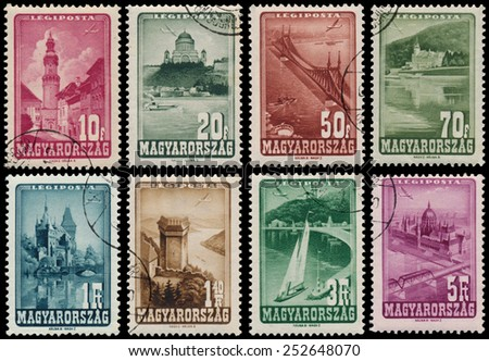 HUNGARY - CIRCA 1947: Set of stamps printed by Hungary, shows hungarian Landscapes, Monuments, circa 1947 - stock photo