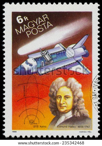 HUNGARY - CIRCA 1986: Set of stamps printed in Hungary, shows Appearance of Halley's Comet, circa 1986  - stock photo