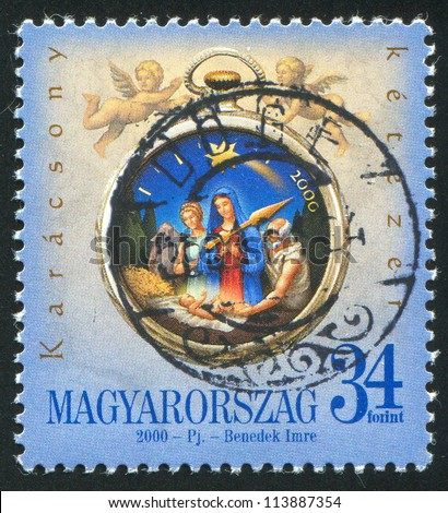 HUNGARY �¢?? CIRCA 2000: stamp printed by Hungary, shows Birth of Chris in Bethlehem, circa 2000 - stock photo