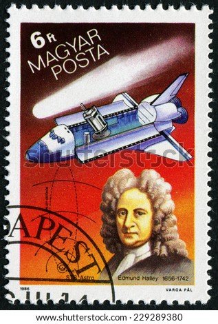 HUNGARY - CIRCA 1986: stamp printed by Hungary, shows Halley's Comet, Edmund Halley, shuttlecraft, circa 1986 - stock photo