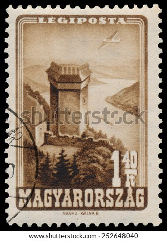 HUNGARY - CIRCA 1947: Stamp printed by Hungary, shows Visegrad Fortress on the Danube, circa 1947 - stock photo