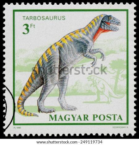 "HUNGARY - CIRCA 1990: Stamp printed in Hungary from the ""Prehistoric Animals "" issue shows Tarbosaurus, circa 1990. - stock photo"