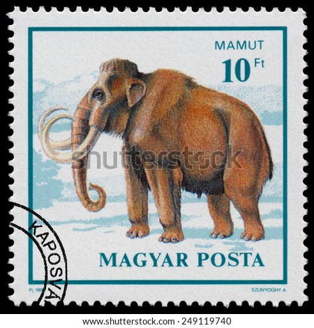 """HUNGARY - CIRCA 1990: Stamp printed in Hungary from the """"Prehistoric Animals """" issue shows Mamut, circa 1990. - stock photo"""