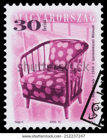"HUNGARY - CIRCA 2000: Stamp printed in Hungary, shows antique Chair by Karoly Nagy, 1935, with the same inscription, from series ""Furniture Type"", circa 2000"