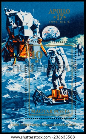 HUNGARY - CIRCA 1972: Stamp printed in Hungary, shows Apollo 17 with astronauts on the moon' surface, circa 1972  - stock photo