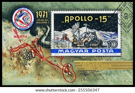HUNGARY - CIRCA 1972: Stamp printed in Hungary, shows Apollo 15 with names of astronauts, circa 1972