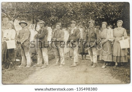 HUNGARY- CIRCA 1920: Vintage photo showing vineyard workers, circa 1920