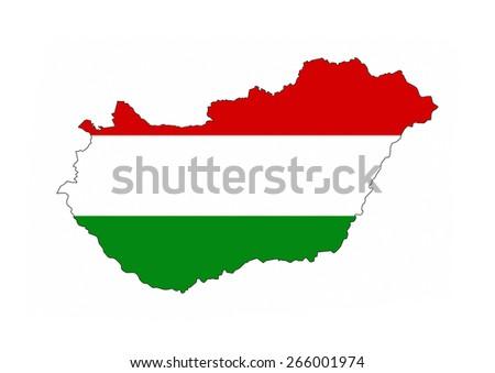 hungary country flag map shape national symbol - stock photo