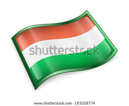 Hungary Flag Icon, isolated on white background - stock photo