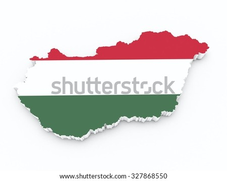 hungary flag on 3d map