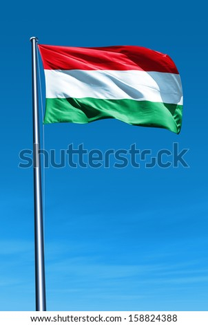 Hungary flag waving on the wind