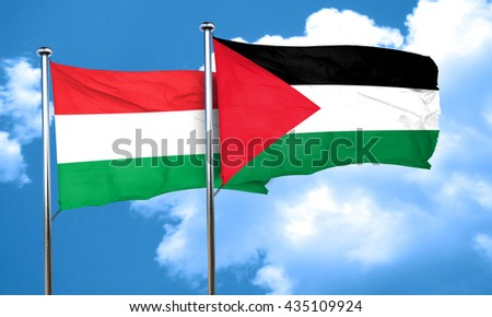 Hungary flag with Palestine flag, 3D rendering