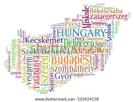 Hungary map and words cloud with larger cities - stock photo