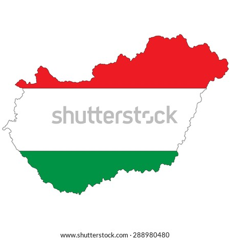Hungary map image painted in the colors of the national flag - stock photo
