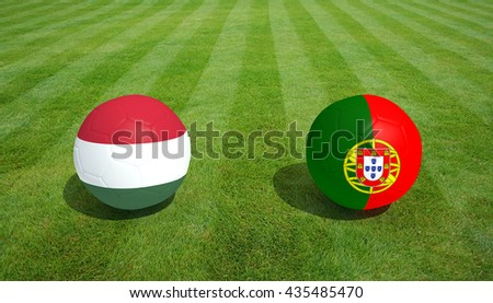 Hungary / Portugal soccer game on grass soccer field 3d Rendering.