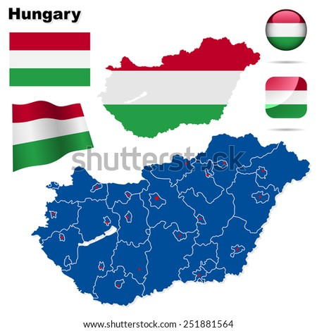 Hungary set. Detailed country shape with region borders, flags and icons isolated on white background. - stock photo