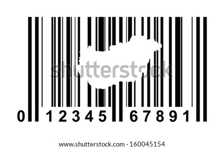 Hungary shopping bar code isolated on white background.