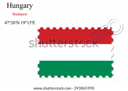 hungary stamp design over stripy background, abstract art illustration, image contains transparency