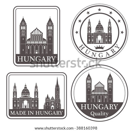 Hungary. Vector. Silhouette. Icon. Sign. Set