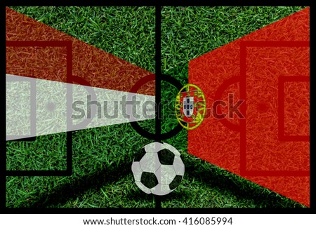 Hungary vs Portugal football flag background on green pitch 2016 - stock photo