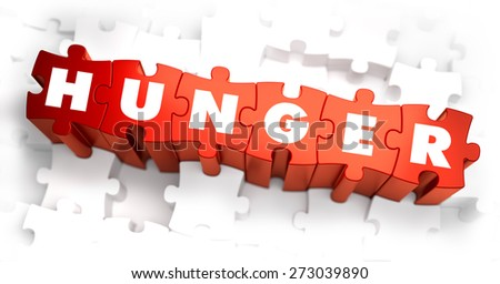 Hunger - Text on Red Puzzles with White Background. 3D Render.  - stock photo