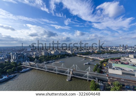 Hungerfold Bridge and Goldden Jubilee Bridge in London, UK - stock photo