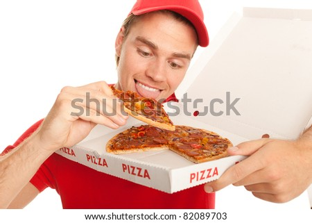 hungry man - stock photo