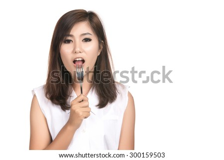 Hungry young asian woman with blank copy space,isolated on white background
