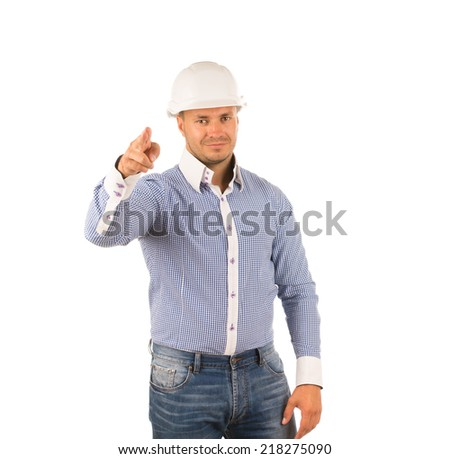 Hunk Caucasian Engineer in White Blue Long Sleeves and White Helmet Pointing and Looking at Camera. Captured on Full White Background. - stock photo