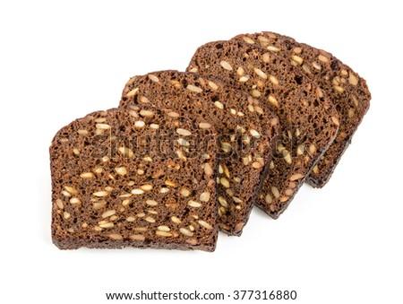 hunks of square rye bread - stock photo