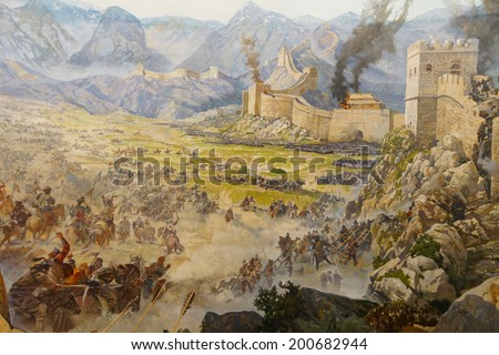 Huns attack the Great Wall of China,  Askeri Museum, Istanbul,  Turkey  - stock photo