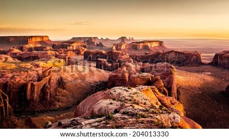Hunt's Mesa, Monument Valley Navajo Tribal Park - stock photo
