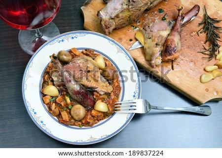 Hunted pheasant mushroom stew - stock photo
