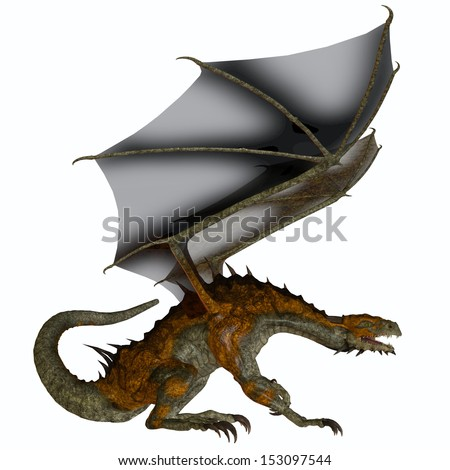 Hunter Dragon Profile - A creature of myth and fantasy the dragon is a fierce flying monster with horns and large teeth. - stock photo