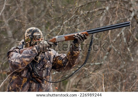 Hunter during a hunt - stock photo