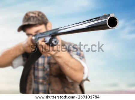 Hunter, Hunting, Rifle. - stock photo