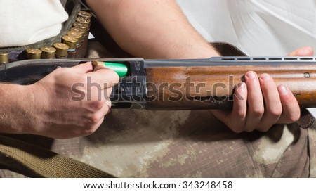 hunter load ammo in the your gun - stock photo