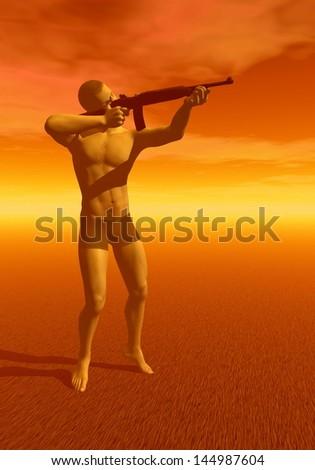 Hunter man holding rifle in orange sunset background - stock photo