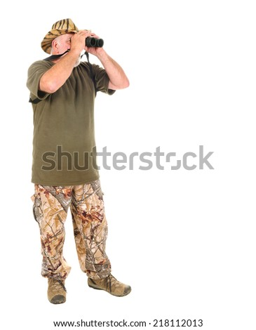 Hunter using binoculars to search for game, isolated on white