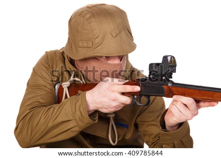 Hunter with a gun isolated - stock photo