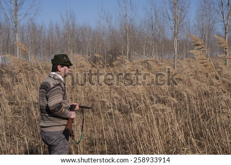 Hunter with rifle enters the hunting ground in search of prey - stock photo