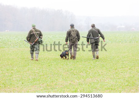 hunters at hunt - stock photo