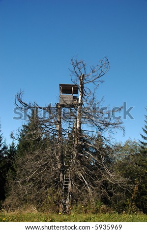 Hunters lookout station camouflagued by old tree - stock photo
